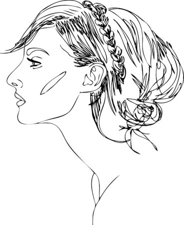 head of young woman. one line design