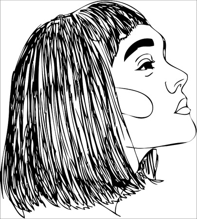 illustration, Head of young woman. One line design