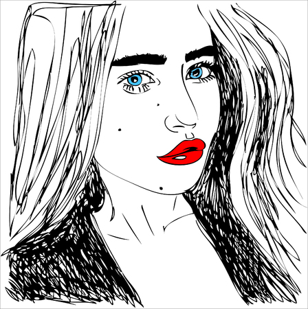 illustration,  young woman with red lips. One line design