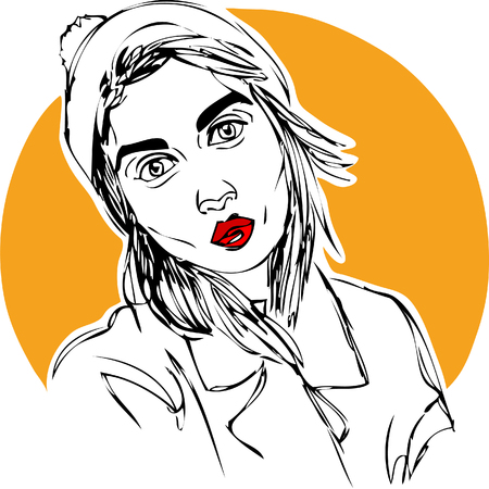 Illustration, young woman in a hat on yellow background. One line design