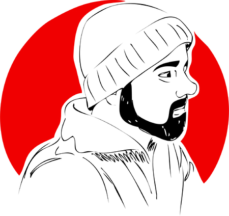 Illustration, man with beard in hat on red background. One line design
