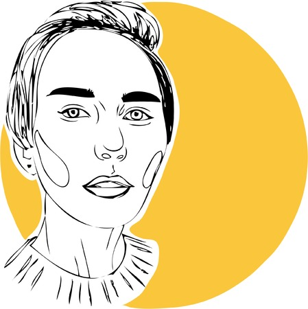 Illustration, young woman on yellow background. One line design
