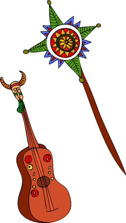 Illustration of guitar and traditional Christmas symbols. Vectores