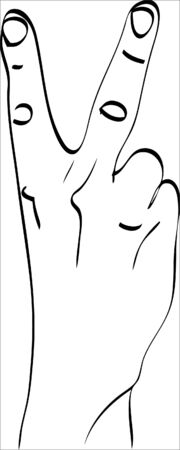 Isolated silhouette of the hand that shows two fingers.