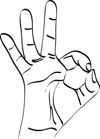 vector illustration. Isolated silhouette of the hand that shows OK