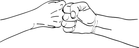 vector illustration. Isolated silhouette of the hand that shows high five