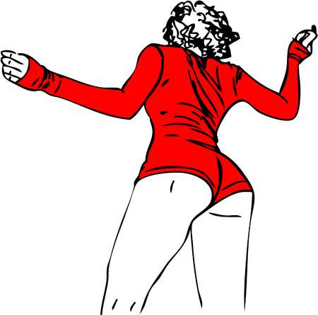 Illustration. Womens beautiful ass in red panties.  Çizim