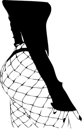 Illustration, female figure in pantyhose in a net. one lone design