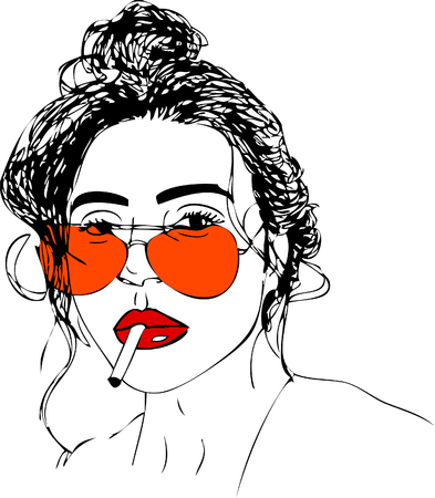 Illustration,  young woman in glasses. One line design