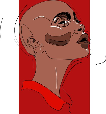 Illustration, bald head of young woman on red background Vectores