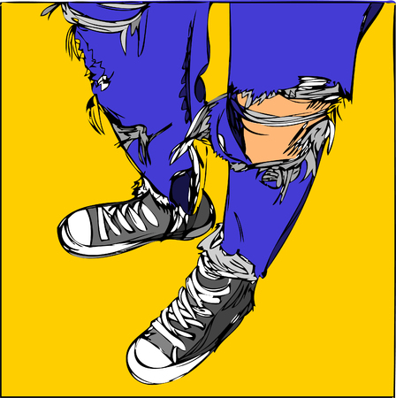 Illustration. young human on blue jeans and sneakers