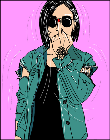 Young beautiful woman show middle finger fuck you off near his open mouth. Vector illustration Vettoriali