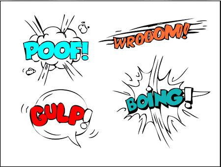Comic speech bubbles set with different emotions and text Poof, Wroom, Gulp, Boing . Vector bright dynamic cartoon illustrations isolated on white background.