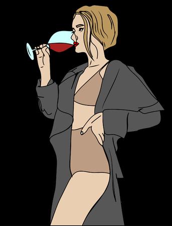 vector illustration, sexy woman on nude underwear drink wine glass