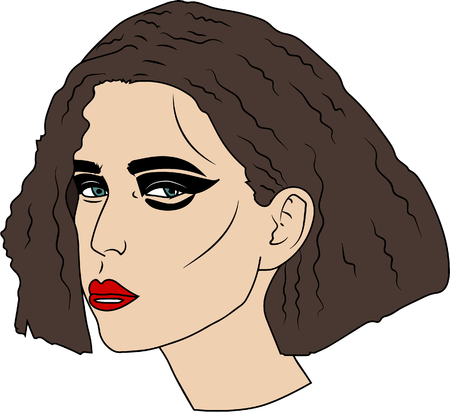 vector illustration. Portrait of beautiful young woman with quads colored brown hair and bright make-up Vectores