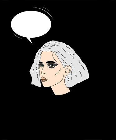 vector illustration. Portrait of beautiful young woman with quads colored grey  hair and bright make-up