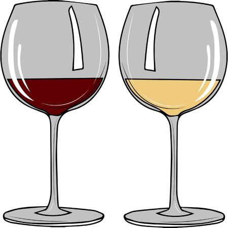 vector illustration. Set transparent glasses with white and red wine Vectores