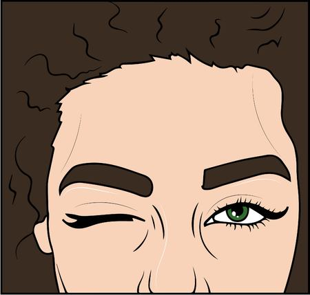 vector illustration. beautiful woman  wink at green eyes.