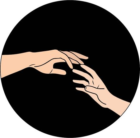 vector illustration. two hands reaching each other on black background Ilustração
