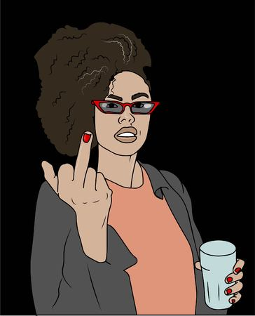 Young beautiful woman shows middle finger fuck you near her open mouth. Vector illustration Illustration