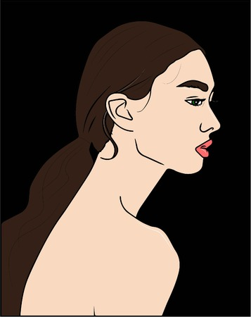 vector illustration. silhouette of beautiful woman. 스톡 콘텐츠 - 101745927