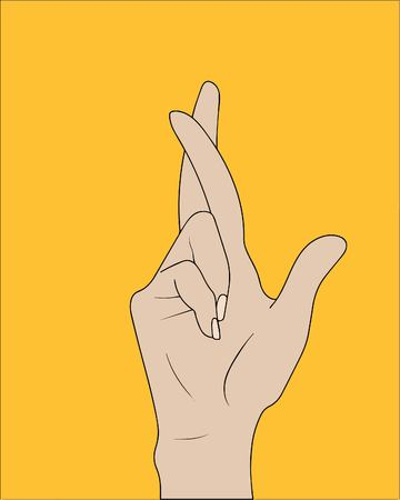 Fingers crossed, hand gesture. Lie, on luck, superstition symbol or icon. Vector illustration Illustration