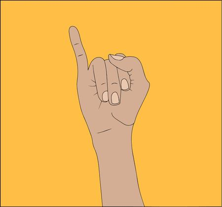 The right  hand shows the little finger isolated on yellow  background