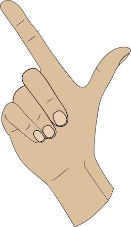 Finger spelling the alphabet letter L in American hand sign language