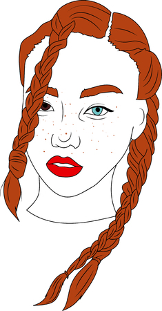 vector illustration, Head of beautifull  young woman with different eyes 스톡 콘텐츠 - 121959818