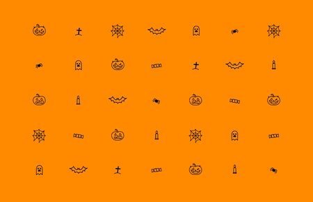 Orange background with Halloween icons