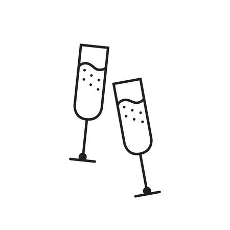 Champagne glasses vector icon Banco de Imagens - 91517692