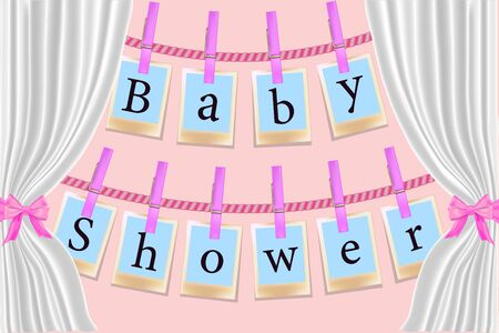Clothespins cards on pink background. Invitation card BabyShower for a girl with photo frames. Ilustrace