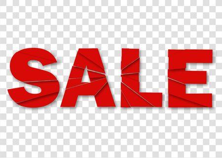 Sale, Banner, Emblem on red background for business, marketing. Banner sale. Vector background offer for shop. Vector illustration Illustration