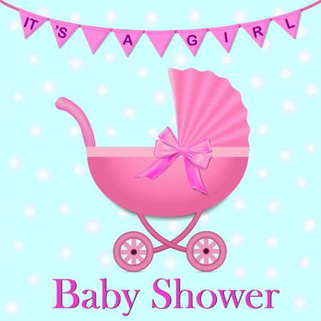 Pink Stroller with a bow for baby girl. Baby Shower invitation with flags and stroller. Baby carriage in realistic style.vector illustration
