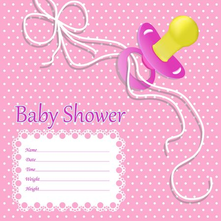 Greeting card for baby girl on baby shower. Baby shower invitation with nipple, ribbon for baby girl. Pink background. vector illustration eps10