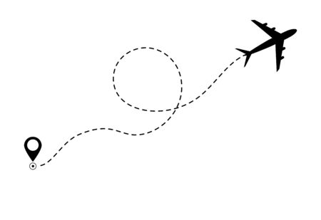 Airplane line path icon of air plane flight route. Airplane travel concept, symbol on isolated background. Flat black airplane flying and leave a black dashed trace line. vector eps10