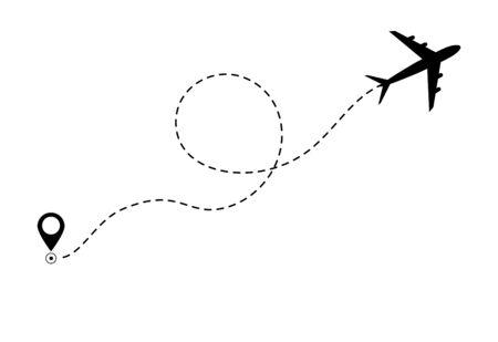 Flugzeuglinienpfadsymbol der Flugroute des Flugzeugs. Flugzeugreisekonzept, Symbol auf isoliertem Hintergrund. Flaches schwarzes Flugzeug fliegen und eine schwarze gestrichelte Linie hinterlassen. Vektor-eps10 Vektorgrafik