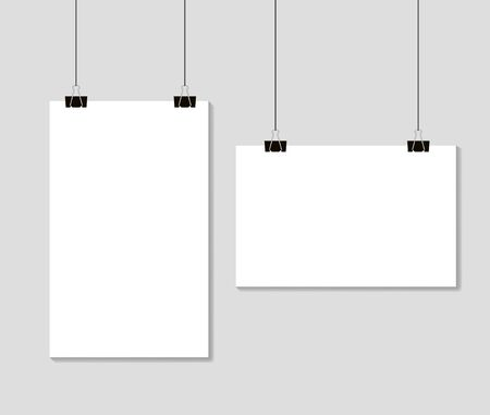 Empty Blank paper sheets hanging on binder clips. Mockup template format A4 on grey background. vector eps10 Vectores