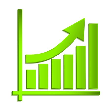 Growing business arrow on diagram of growth, Profit green arrow. vector graph icon. vector illustration eps10