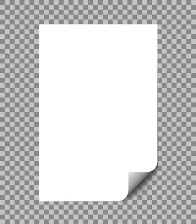 Paper sheet wrapped vector illustration with shadow. Blank A4 paper page with curl isolated on white. vector eps10
