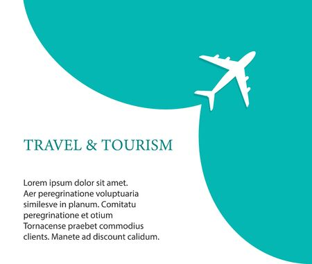 Airplane on blue background and empty place for advertising. The plane takes off. Vector illustration of travel and tourism concept for website, presentations. vector eps 10