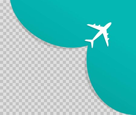 Airplane on blue background and empty place for advertising. The plane takes off. Vector illustration of travel and tourism concept for website, presentations.vector eps 10