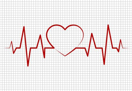 Heart beats, cardiogram.Pulse of life line forming heart shape. Medical design.Healthcare, medical background with heartbeat cardiogram. vector eps10