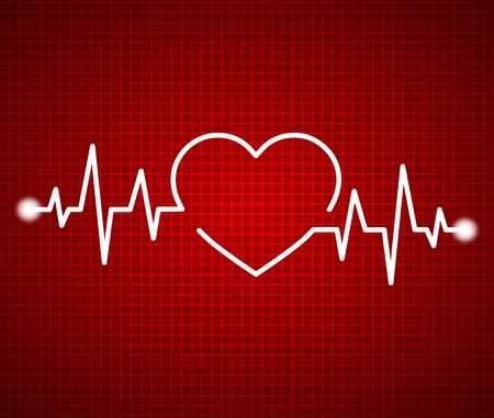 Abstract heart beats, cardiogram. Cardiology dark red background. Pulse of life line forming heart shape. Medical design over red background. vector illustration Çizim