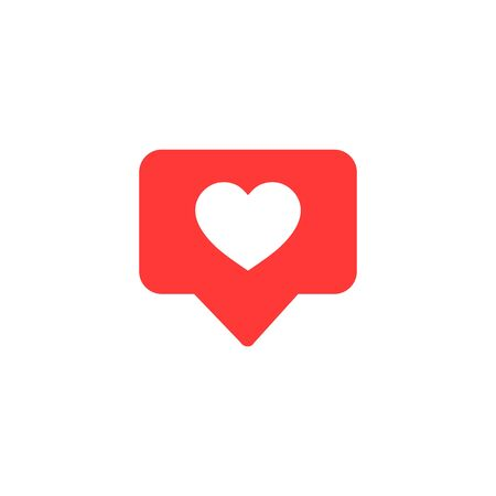 Vector icon like.Thumbs up social media with heart shape. Social media red icon on isolated background. vector eps10 Çizim
