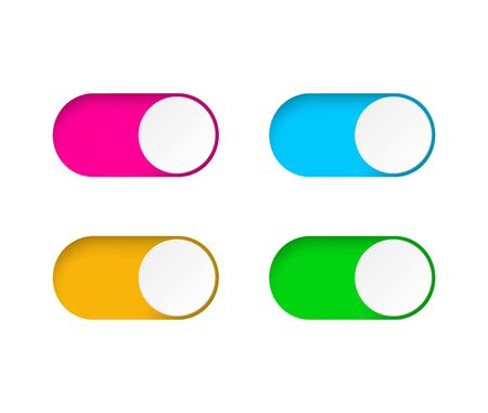Set of On and Off toggle switch buttons.Design colorful switch buttons set.Toggle slide for mobile app, social media. vector eps10 向量圖像