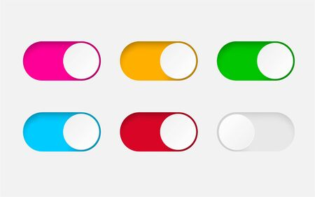 Set of On and Off toggle switch buttons.Design colorful switch buttons set.Toggle slide for mobile app, social media. vector eps10 Illustration