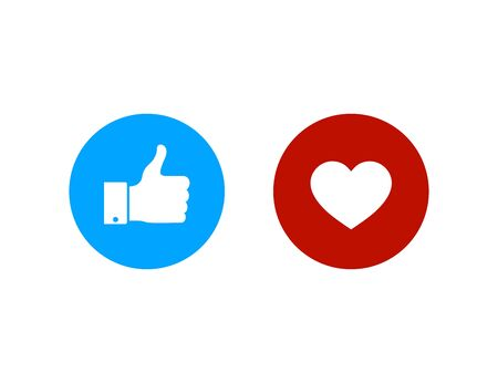 Thumbs up and heart icon.Like and heart buttons. Flat good icon for social media. Vector eps10