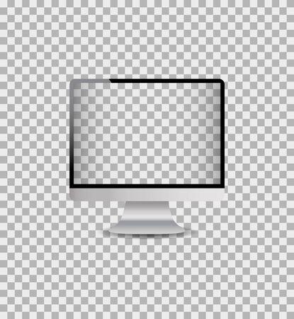 Moniteur d'ordinateur de maquette réaliste avec écran numérique. Ordinateur de bureau modèle avec illustration de frame.vector argent