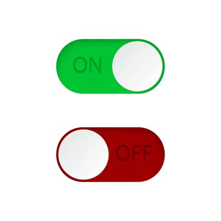 Set of On and Off toggle switch buttons.Green and red switch buttons set.Toggle slide for mobile app, social media. vector illustration eps10